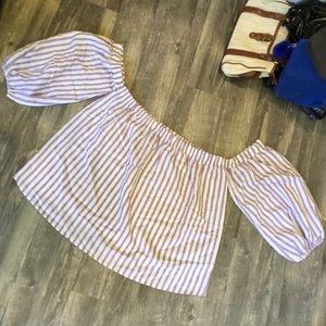 Express striped open shoulder flowy top